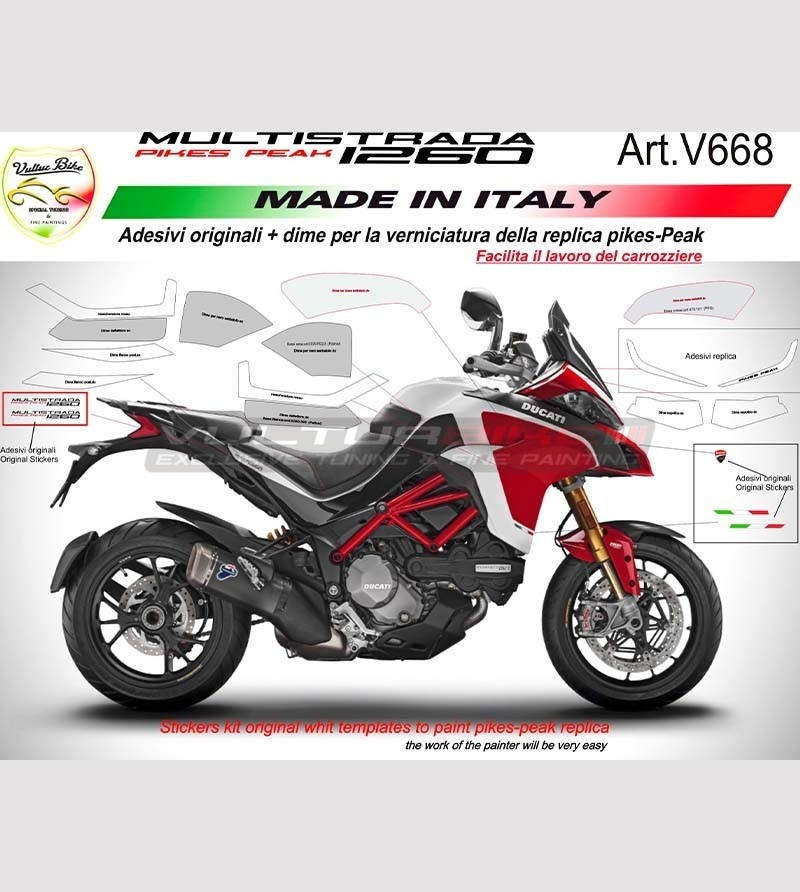 Original Pikes-Peak painting stickers' kit and templates for Ducati Multistrada 1260