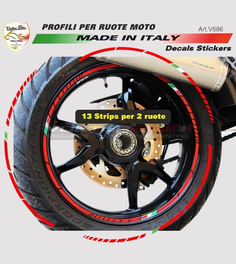 Universal stickers profiles for motorcycle's wheels