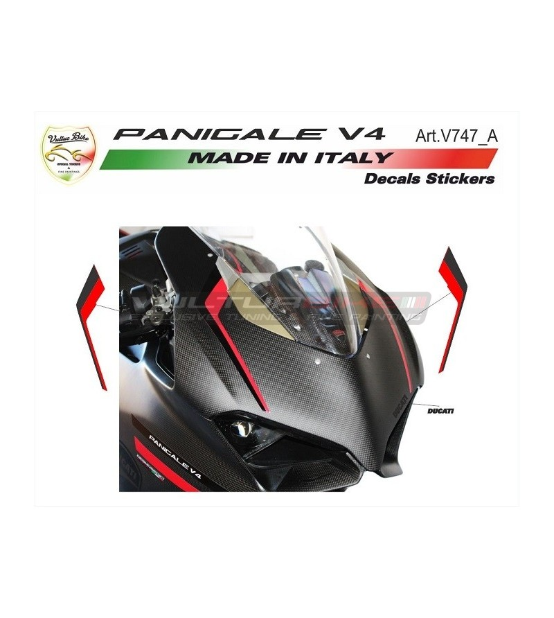 Special red-black front fairing's stickers - Ducati Panigale V4 / V4S / V4R