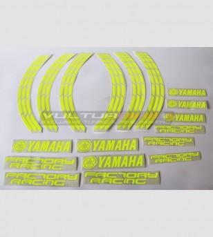 Autocollants fluo Factory Racing pour roues de moto de 17 pouces - Yamaha