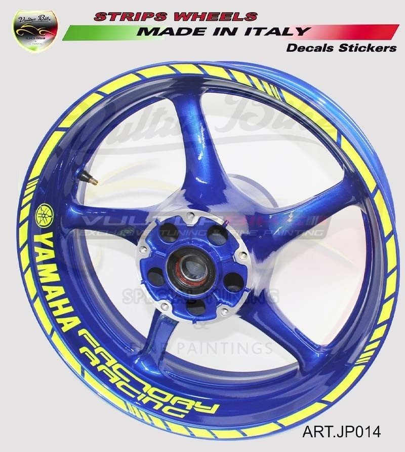 Factory Racing fluo stickers for 17 inch motorcycle's wheels - Yamaha