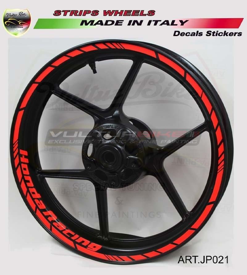 Adesivi Honda Racing fluo per ruote moto - Honda