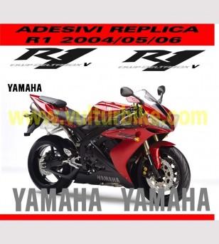 Kit de pegatinas color negro / grafito cumplido. - Yamaha R1 2004/2005/2006