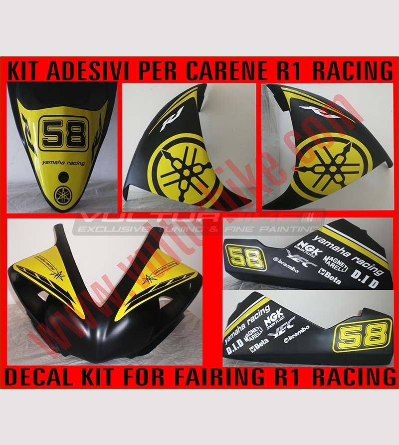 Kit adesivi Racing con numero - Yamaha R1 2009/2010/2011/2012