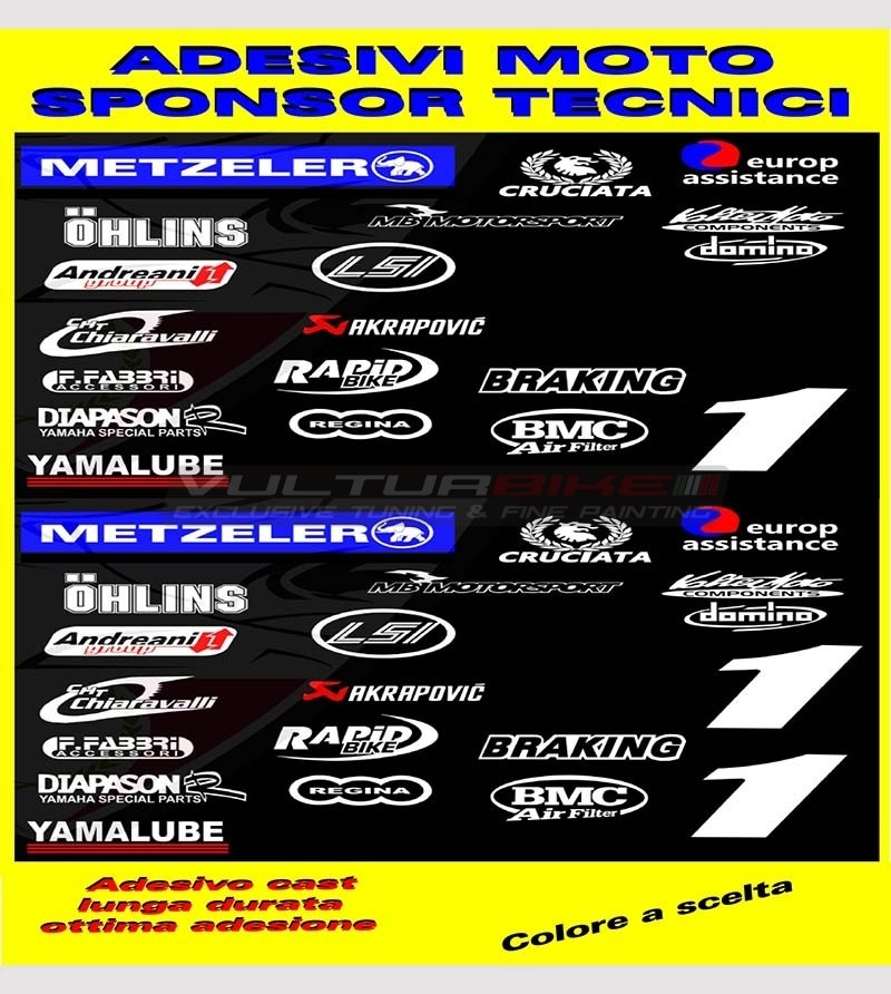 Adesivi moto sponsor tecnici - Yamaha R1/R6