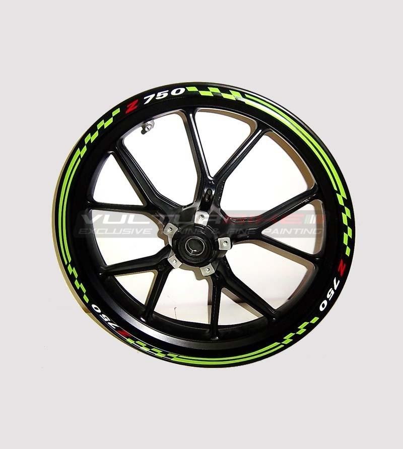 Pegatinas para el diseño especial de ruedas verdes - Kawasaki Z 750