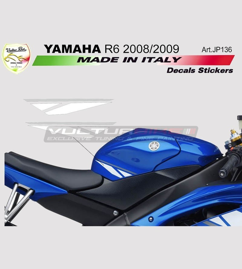 Pegatinas de tanque blanco/grafito - Yamaha R6