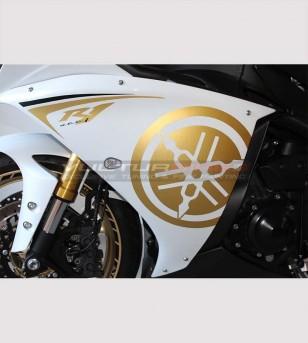 Pegatinas de carenada lateral de oro - Yamaha R1 2009/14