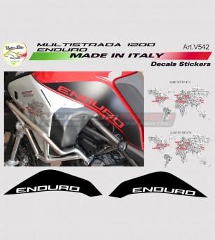 Kit adesivi globetrotter 90th nero opaco - Ducati multistrada 1200 enduro