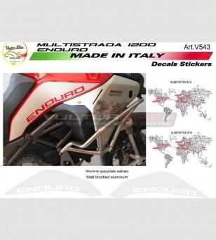 Kit de pegatinas Globetrotter 90th sp.sa de aluminio. - Ducati multistrada 1200 enduro