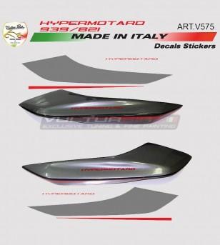Adesivi fianchetti posteriori graphite/rosso - Ducati Hypermotard 821/939