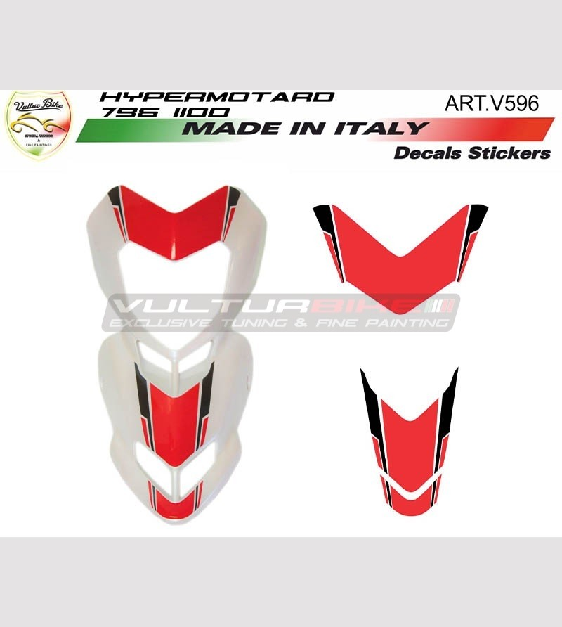 Front fairing's r/w stickers for white motorcycle - Ducati Hypermotard 796/1100