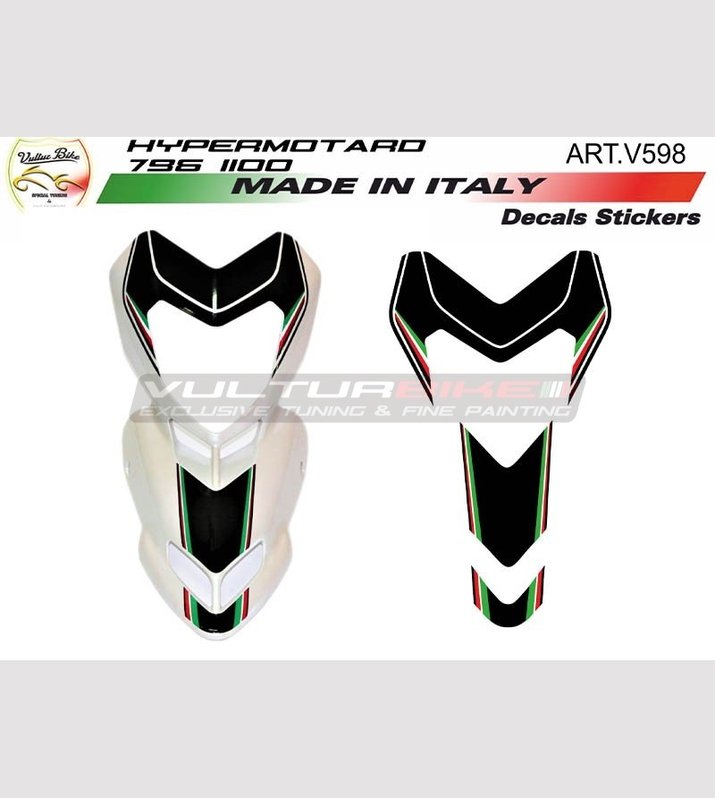 Front fairing's b/w stickers for white motorcycle - Ducati Hypermotard 796/1100