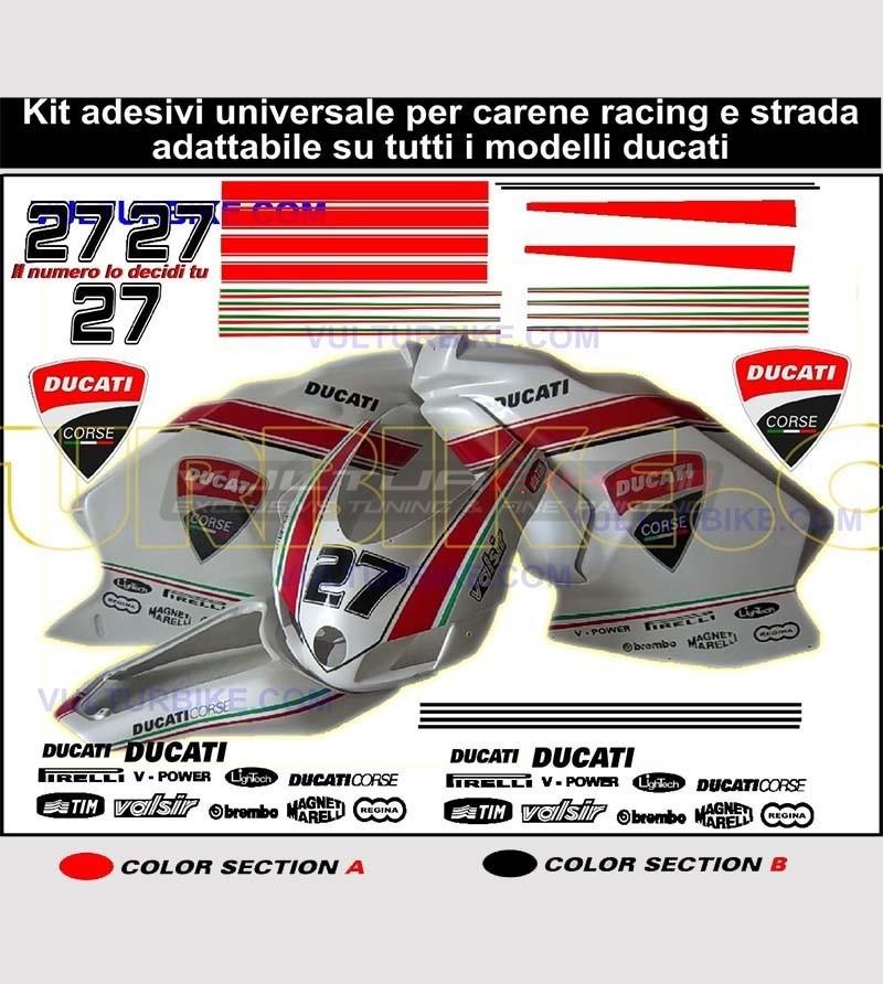 Customizable stickers' kit for universal Ducati's fairings