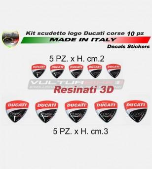 10 adesivi resinati 3D logo Ducati Corse