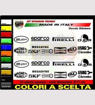 Kit 24 adesivi sponsor tecnici