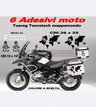 Adesivi Tuareg Touratech mappamondo - Bmw R1200 GS