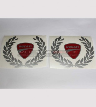 Colored stickers Ducati shield and laurel crown large size