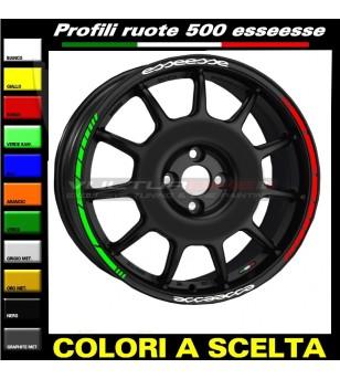 Profili adesivi Tricolore per ruote auto Fiat 500 esseesse