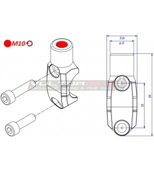 Brembo Master cylinder clamp with Mirror Mount thread M10 left