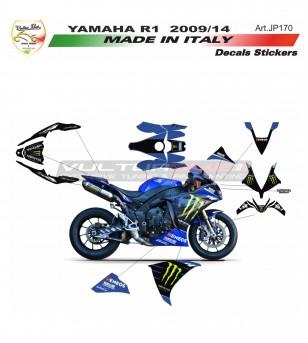 Kit completo de pegatinas de réplica de moto gp Monster - Yamaha R1 09/14