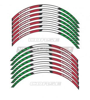 Tricolor Wheels Racing Sticker - Universal