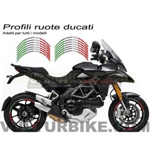 Profils adhésifs des roues tricolores italiennes Ducati Corse