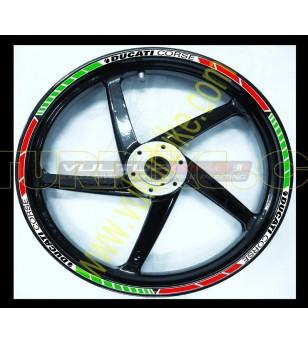 Profili adesivi ruote tricolore italiano Ducati Corse