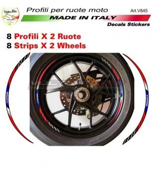 Kit adesivi CORSE rosso blu per ruote Ducati