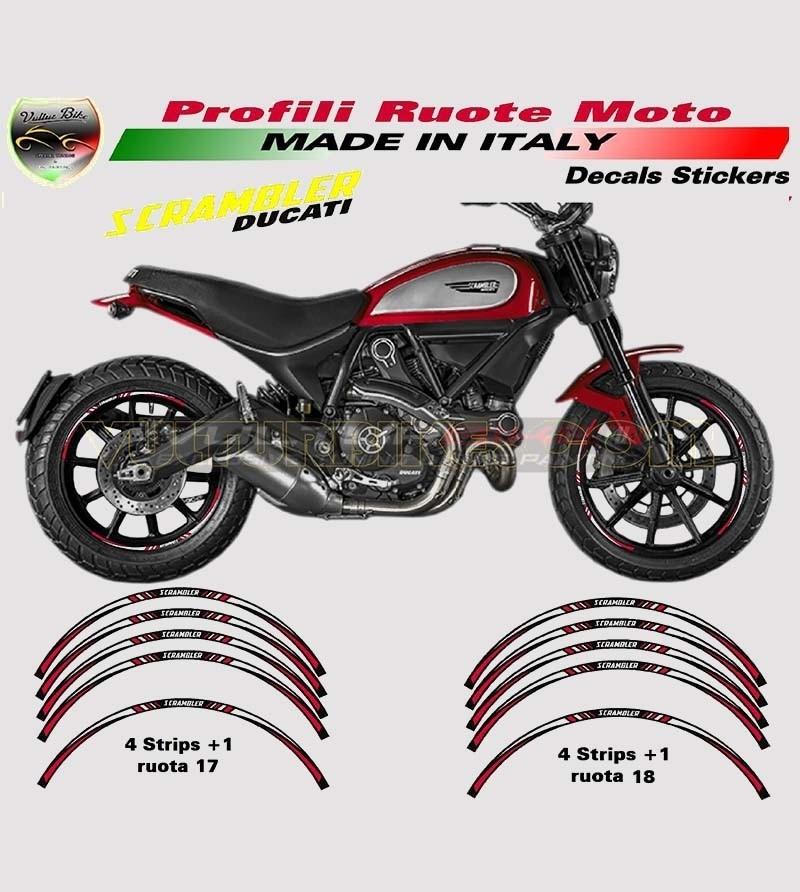 Stickers Profiles Wheels Red - Ducati Scrambler