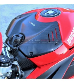 Carbon battery cover with integrated key lock cover - Ducati Panigale V4 / V4S / V4R