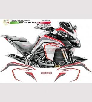 Kit adesivi Graphite-Rosso per Ducati multistrada 950 - 1200 DVT