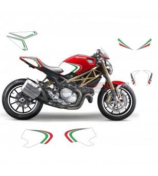 Kit adesivi grafica tricolore - Ducati Monster 696 / 796 / 1100 anno 2008 - 2014