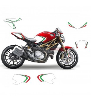 Stickers kit italian tricolor graphics - Ducati Monster 696/796/1100 year 2008 - 2014