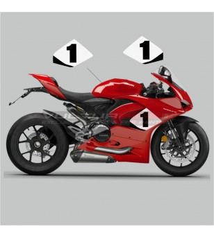 Side fairings stickers with custom number - Ducati Panigale V2 2020 / 2021