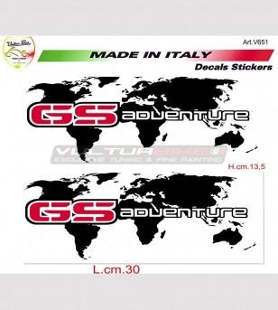 Kit 2 GS Adventure etiquetas engomadas de la planisphere